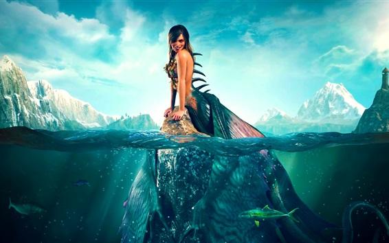 Fondos de pantalla Hermosa sirena, sonrisa, pescado, mar, arte de fantasía