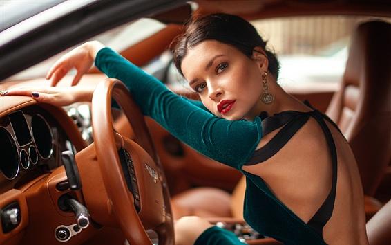 Wallpaper Bentley, girl, driving