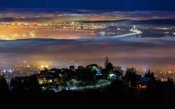 Wallpaper Berkeley, San Francisco, USA, city, night, lights, bridge, fog