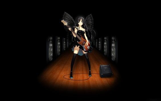 Wallpaper Black angel girl, anime, play guitar, music