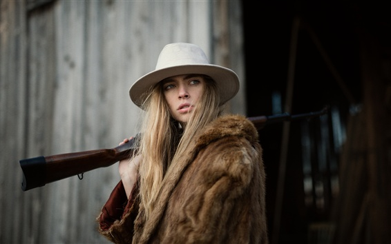 Wallpaper Blonde girl, hat, rifle