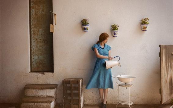 Wallpaper Blue dress girl, life, kettle, washbasin
