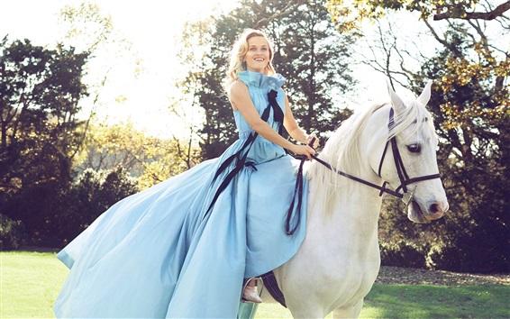 Wallpaper Blue dress girl riding white horse