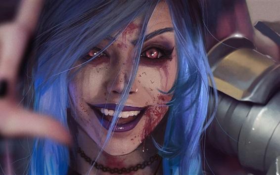 Fond d'écran Blue hair fantasy girl, blood