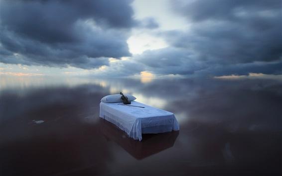 Wallpaper Blue sea, bed, violin, sky, clouds, creative