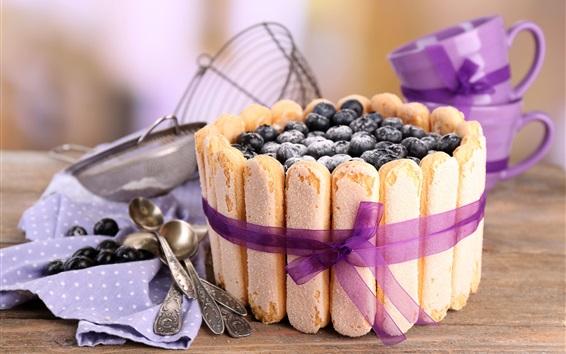 Wallpaper Blueberries cake, food
