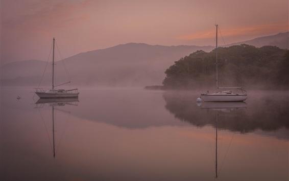 Wallpaper Boats, lake, mountains, dawn, fog