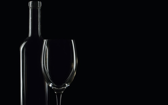 Wallpaper Bottle and glass cup, black background