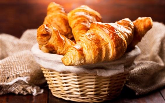 Wallpaper Bread, croissant, basket, breakfast