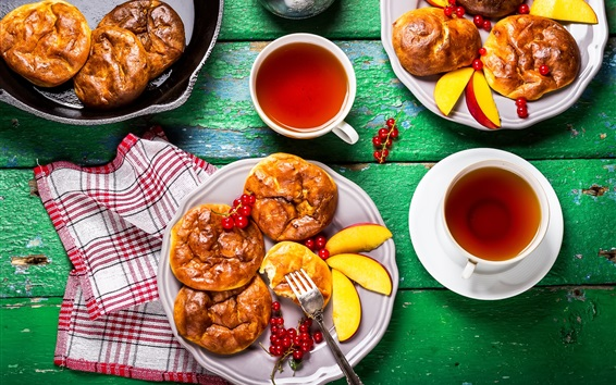 Breakfast, bread, berries, tea Wallpaper Preview
