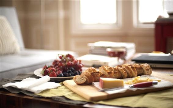 Fond d'écran Petit-déjeuner, pain, raisin, fromage