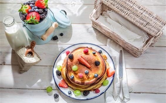Fond d'écran Petit-déjeuner, lait, crêpes, baies