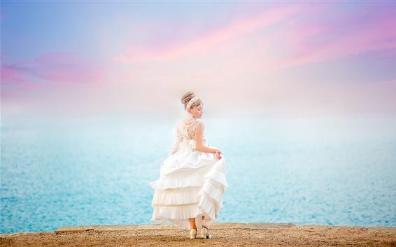 Wallpaper Bride, girl, white dress, back view, sea