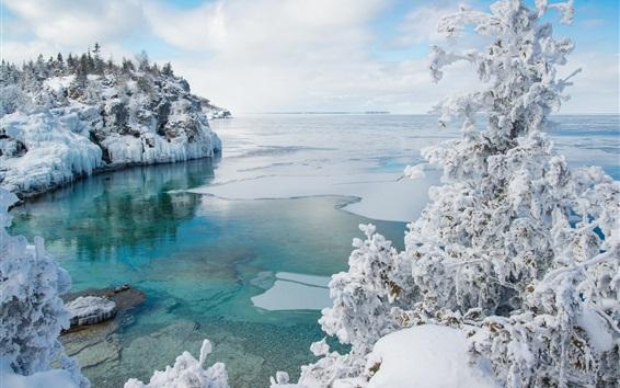 Обои Национальный парк Брюса, Канада, снег, зима, море