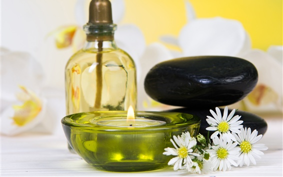 Wallpaper Candles, chamomile, relax, stones, SPA