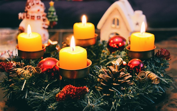 Wallpaper Candles, flame, Christmas decoration