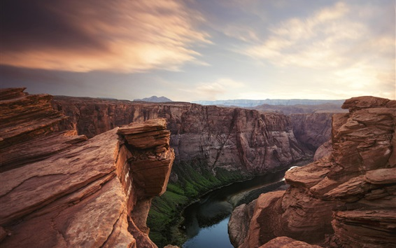 Wallpaper Canyon, river, sky, clouds, dusk