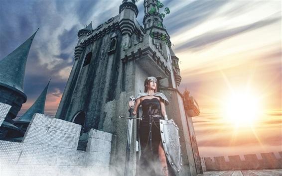 Fond d'écran Château, fille guerrière, bouclier, épée, coucher de soleil