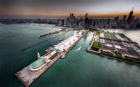 Wallpaper Chicago, city, bay, sea, skyscrapers, top view, USA