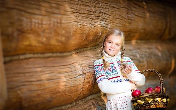 Wallpaper Child girl, basket, apples