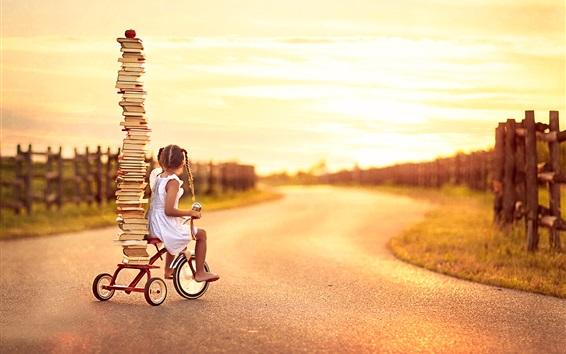 Wallpaper Child girl, little bike, many books
