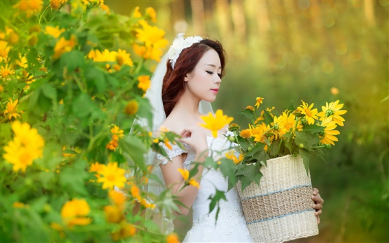 Wallpaper Chinese bride, white dress, flowers