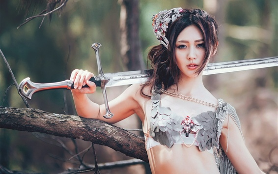 Wallpaper Chinese girl, sword, retro style