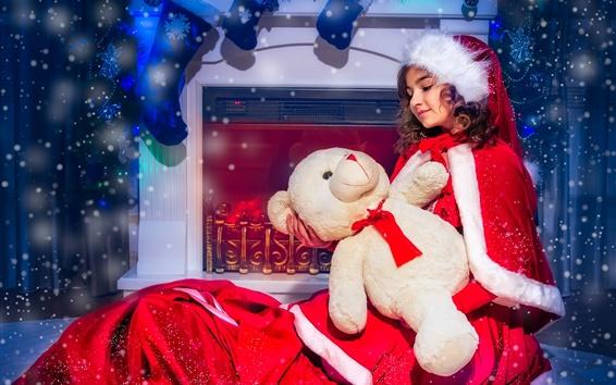 Papéis de Parede Menina de vestido de Natal, urso, lareira, meias, neve