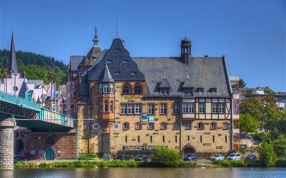 壁纸 城市,家庭,河流,桥梁,树木,德国
