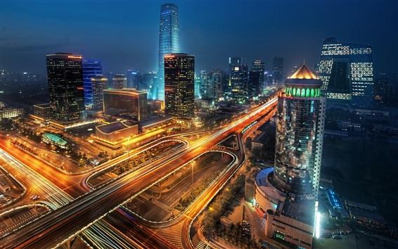 Обои Город ночью, здания, дороги, небоскребы, огни, Пекин, Китай