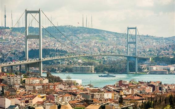 Wallpaper City, river, bridge, houses, buildings, Istanbul, Turkey