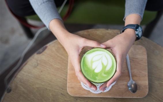 Papéis de Parede Café, formas de folha de hortelã, espuma, mãos