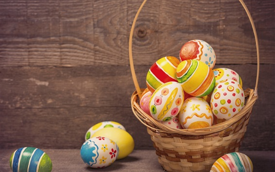 Wallpaper Colorful eggs, basket, Happy Easter