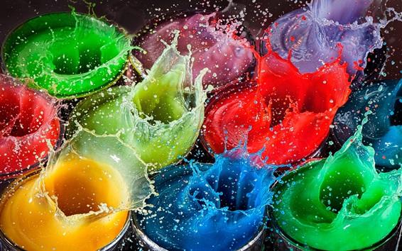 Fondos de pantalla Chapoteo colorido de la pintura, fotografía de alta velocidad