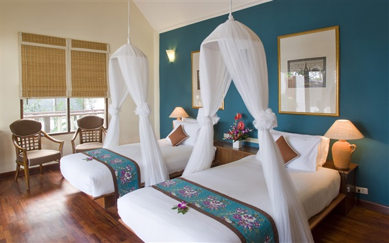 Wallpaper Comfortable bedroom, flowers, window, chairs