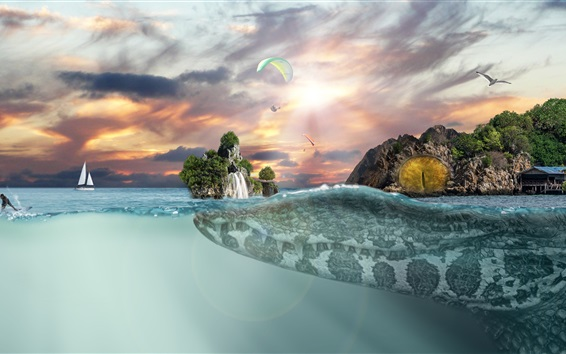 Wallpaper Crocodile, island, horizon, fantasy art picture