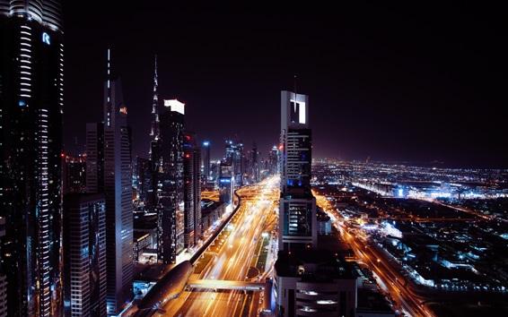 Fond d'écran Dubai, Emirats Arabes Unis, nuit de la ville, gratte-ciel, route, lumières