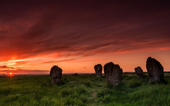 Wallpaper Duddo stone circle, sunset, grass