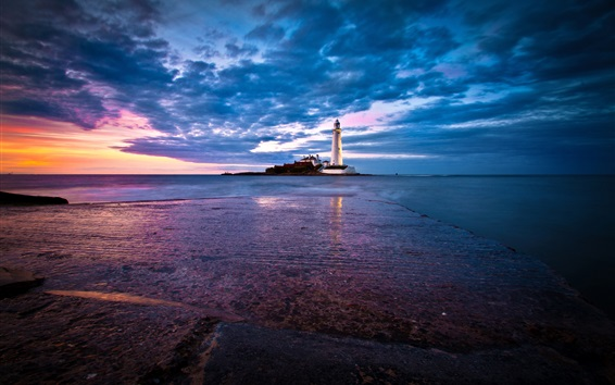 Wallpaper England, St. Mary's Lighthouse, coast, sea