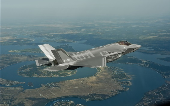Обои Полет бомбардировщика F-35, Lightning II