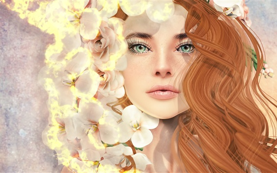 Fond d'écran Fantaisie fille, cheveux bouclés, yeux verts, fleurs