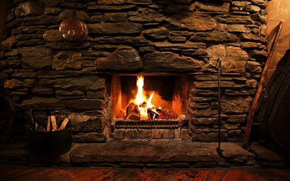 Wallpaper Fireplace, room