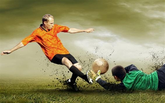 Wallpaper Football match, attack and defense