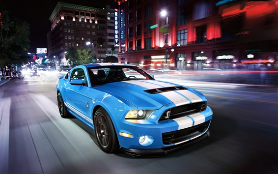 Wallpaper Ford Mustang Shelby GT500 blue supercar speed