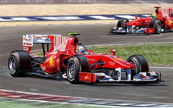 Wallpaper Formula 1 race, red supercar speed