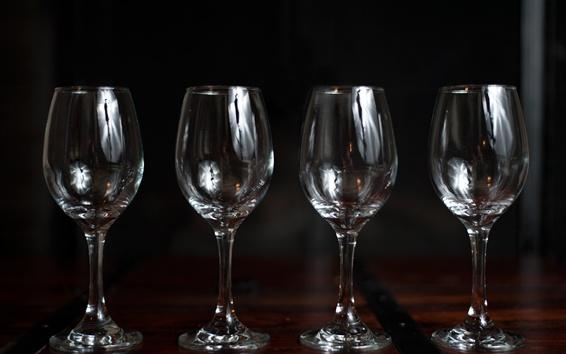 壁纸 四杯玻璃杯,黑色背景