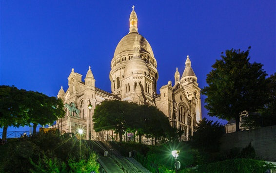 Wallpaper France, Paris, Montmartre, castle, night, lights, trees