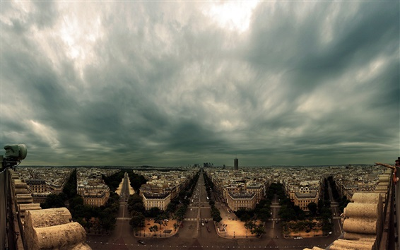 Wallpaper France, Paris, city, houses, roads, dark clouds