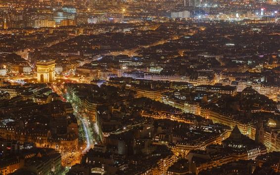Wallpaper France, Paris, city night, top view, buildings, lights