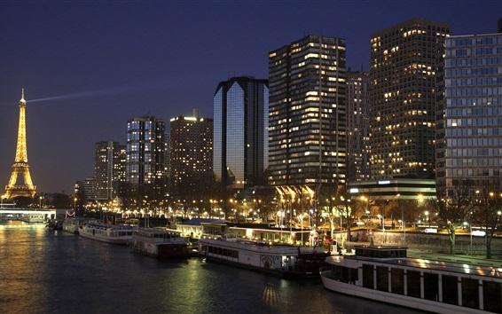Wallpaper France, Paris, skyscrapers, boats, river, Eiffel Tower, lights, night